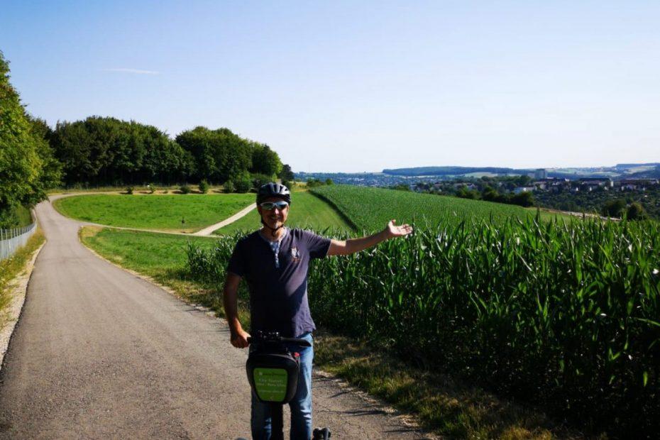 Mit dem Segway auf die Ulmer Panoramatour. Segway Tour Ulm mit Ausblick von oben.
