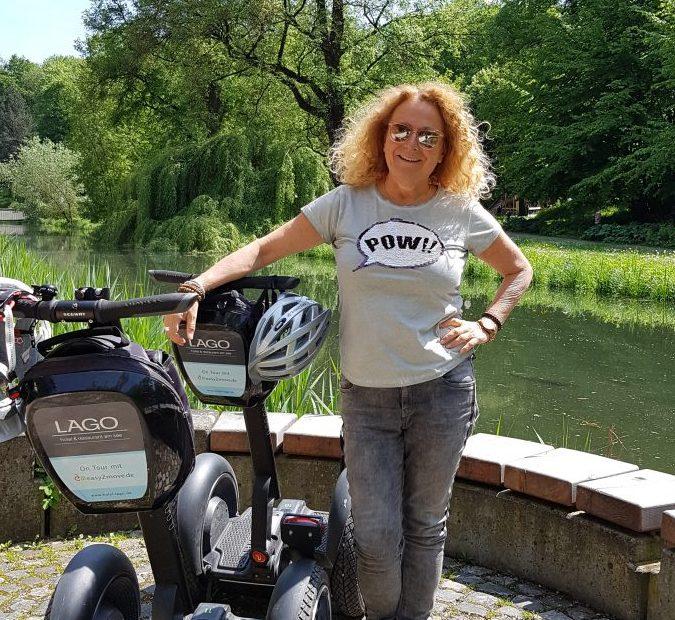 Gaby Fischer, zertifizierte Stadtführerin, Segway Ulm Segway Neu-Ulm Firmen Event, Schwäbische Riviera, Touristen mit dem Segway